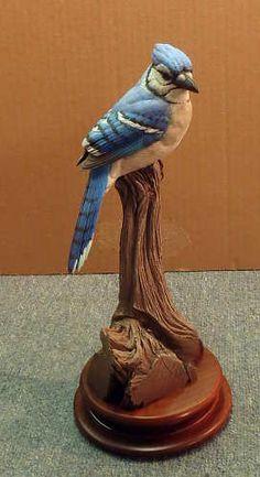 Lifesize BlueJay Decorative  - carving by Bob Guge