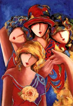 """East Coast Woman's Salon meeting on Feb. """"Four Sisters"""" - Jeni Genter Four Sisters, Painting People, Whimsical Art, Face Art, Figurative Art, Painting Inspiration, Painting & Drawing, Art Pictures, Abstract Art"""