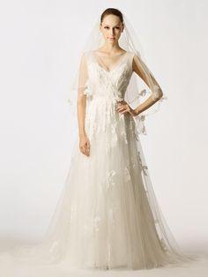 Tulle V-neck Appliques Sleevesless A-line Wedding Dress at nextdress.co.uk