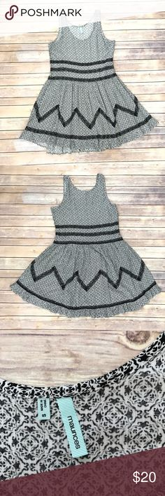 Maurices Dress Black & white sleeveless dress with a few black lace stripes throughout. Has a hi-lo hem.  Measurements available upon request.  INV# 19247-317 Maurices Dresses Mini