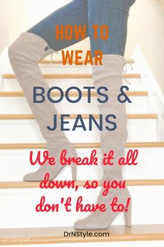 Find out how to wear boots with all styles of jeans -skinny jeans, straight leg, boot cut, flare, wide leg and more! We break it all down for fall and winter styles! Skinny Jeans Stiefel, Skinny Jeans With Boots, All Jeans, Fall Fashion Outfits, Autumn Fashion, Fashion Blogs, Winter Outfits, Fashion Group, Holiday Outfits