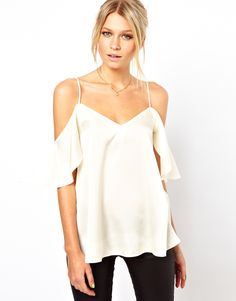 Cami With Cold Shoulders And Ruffle Sleeves