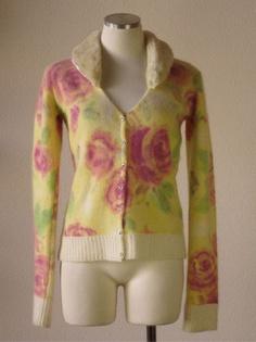 Anthropologie Charlotte floral print wool angora fur collar cardigan sweater
