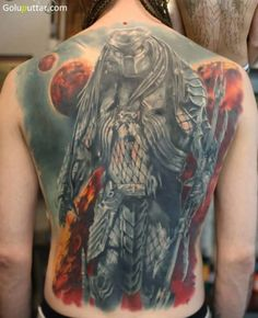 Whole Back Cover Up With Famous Predator Tattoo