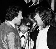 Bruce Springsteen, Bob Dylan and Mick Jagger at the third annual Rock and Roll Hall of Fame induction ceremony, 1988