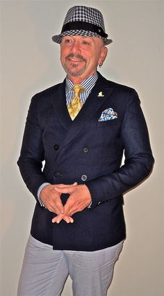 """Gant """"New Haven"""" navy double breasted blazer, yellow and blue accessories…"""