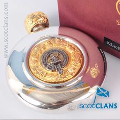 MacPherson Clan Crest Sporran Flask. Free worldwide shipping available