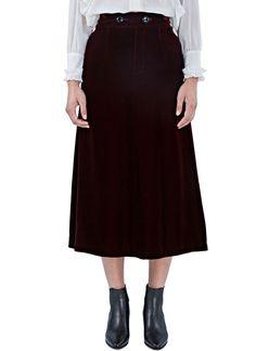 Women's Skirts - Clothing | Order Now at LN-CC - Mid-Length Velvet Skirt