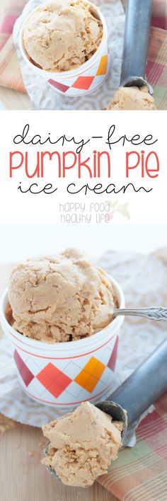 This DAIRY-FREE PUMPKIN PIE ICE CREAM is as creamy as the ice cream you know and love, yet theres no dairy needed for this recipe! Dairy Free Pumpkin Pie, Pumpkin Pie Recipes, Pumkin Pie, Pumpkin Cookies, Healthy Ice Cream, Vegan Ice Cream, Paleo Dessert, Vegan Desserts, Health Desserts