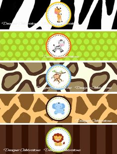 These DIY Printable Water Bottle Labels are great for birthday parties. Simply print out as many as you need and have fun making your own decorations. This is Jungle Party, Safari Party, Safari Theme Birthday, 1st Boy Birthday, Birthday Parties, Baby Bottle Decorations, Spongebob Birthday Party, 2 Baby, Animal Party