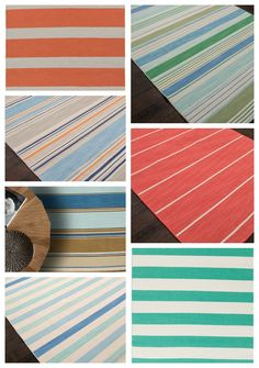 Stripes and more colorful stripes!  Wonderful rugs to add a seaside feel to your coastal home without breaking the bank! So many colors and striped patterns to choose from -