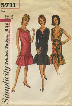 Vintage Sewing Pattern | Little Black Dress | Simplicity 5711 | Year 1964 | Bust 34 | Waist 26 | Hip 36