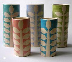 Yellow House Art | ken eardley:cylinder vases - leaf design