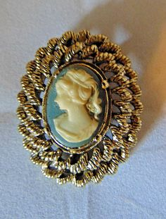 Blue Cameo Pin Brooch Denise Gerry Silver Ceramic Jewelry Vintage Retro #DeniseGerry