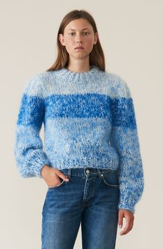 Hand Knit Wool Puff Sleeve Pullover, Lapis Blue, hi-res Sweater Knitting Patterns, Hand Knitting, Local Women, Mohair Sweater, Pullover, Colorful Fashion, Pretty Outfits, Knitwear, Daily Fashion