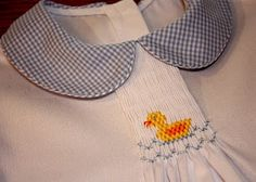 "Adding smocking to a basic pattern---scroll down to find.  white pique' and is smocked with Ellen McCarn's ""Ducklings."""