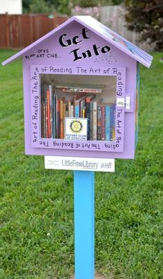 Little Free Library #18538. Part of a project by the Rotary Club of O'Fallon, Illinois, to increase literacy and build community. Decorated by the O'Fallon Township High School Art Club.