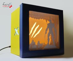 X-men Wolverine shadow box with light by FairyCherry on Etsy