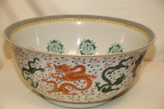 The Biggest Famille Rose, Dragon Porcelain Bowl, Guangxu Period, H 28cm, W61cm