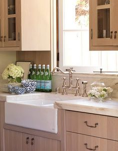 Farmhouse sink and dishes.