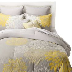 yellow white and grey bedding - Google Search
