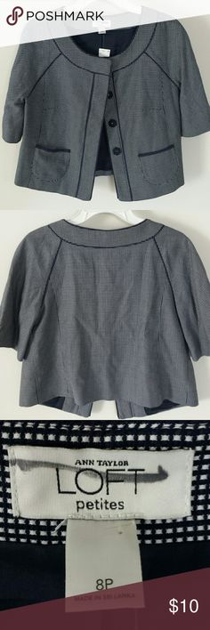 Ann Taylor Loft short sleeve jacket 8 petite Even though this is an x-out nice lined short sleeve jacket in navy and white, 4 button front withv small front pockets. NWT from pet and smoke free home. Ann Taylor Loft Tops