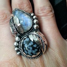 Moonstone and Snowflake Obsidian Ring by Star Native