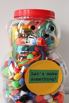An art box full of loose pieces, glue, crayons, etc. for when kids need something to do.