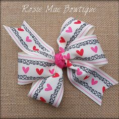 Simple Valentine's Day Pinwheel Style Hair Bow by RosieMaeBowtique