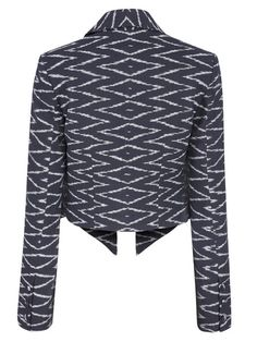 This classic Full Ikat Jacket is a statement piece. Black and White woven to create zig zag striking patterns on a structured jacket. Great Fit Timeless Style.