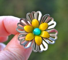 Vintage Brooch YELLOW FLOWER POWER Vintage Enamel Brooch Gold Tone Daisy Type Flower with Yellow Enamel Petals and Green Center by StudioVintage on Etsy