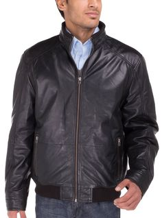 4 Pockets Outside, 2 Zippered and 2 Snap Side Pockets, Ribbed Inside Collar Luciano Natazzi Men's Lambskin Leather Vintage Washed Moto Jacket Black
