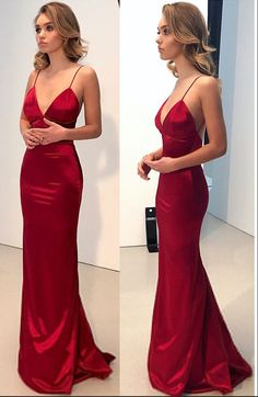 Simple Backless Dark Red Prom Dress,Deep V-neck Cocktail dress, Long Evening Gowns.Spaghetti straps Party Dress