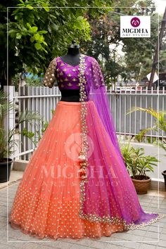 Fuchsia violet combined with Plup orange overall golden embroidered on blouse and matchup dupatta beautifully with soft florals get this look only on MugdhaArtStudioFor Order (or) EnquiryWhats app 8142029190 / 9010906544 20 September 2018 Lehenga Saree Design, Half Saree Lehenga, Lehnga Dress, Lehenga Designs, Indian Lehenga, Baby Lehenga, Lehenga Dupatta, Lehenga Skirt, Kids Lehenga