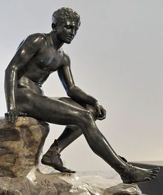 Bronze Seated Hermes, found at the Villa of the Papyri in Herculaneum. Roman copy of a Greek original, in the tradition of Lysippos Currently located in the Naples National Archaeological Museum.