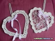 Tutorial per creare all'uncinetto dei cuori ornamentali Shabby Origami, Knit Crochet, Shabby Chic, Christmas Crafts, Crochet Earrings, Projects To Try, Knitting, How To Make, Handmade