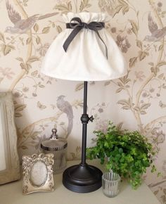 Image of Hand Made Lampshade in Ivory with Velvet Grey Bow