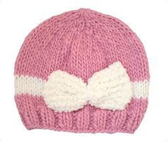 Girls Pink Beanie Hat With Bow