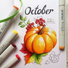Magnifique citrouille pour le mois d'Halloween Wonderful pumpkin for the month of Halloween Copic Kunst, Arte Copic, Copic Art, Copic Sketch, Copic Marker Drawings, Sketch Markers, Drawing With Markers, Fall Drawings, Art Drawings Sketches