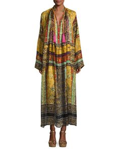 ETRO PATCHWORK-PRINT SILK CAFTAN GOWN, BROWN. #etro #cloth #