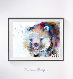 Wombat watercolor painting print Wombat art animal art by SlaviART