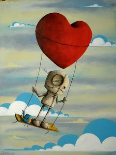 DeviantArt: What the Heart wants and the Heart needs can be found in a Fabio Napoleoni painting. Creepy Art, Weird Art, Arte Robot, Ecole Art, Goth Art, Monster Art, Pics Art, Artwork Pictures, Whimsical Art