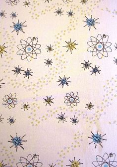 Reproduction retro fabric in Atomic Burst White by Melinamade