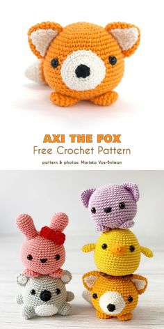 Little Fox Free Crochet Patterns Axi the Amigurumi Fox Free C. : Little Fox Free Crochet Patterns Axi the Amigurumi Fox Free Crochet Pattern Axl the fox is a video amigurumi tutorial with easy, practical demonstrations of all the necessary steps. Mini Amigurumi, Crochet Animal Amigurumi, Crochet Dolls, Easy Crochet Animals, Knitted Dolls, Crochet Stuffed Animals, Amigurumi Toys, Crochet Pattern Free, Crochet Animal Patterns