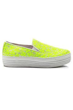 Joshua Sanders Fluoro Yellow Trifoglio Embroidered Sneakers with Double Sole