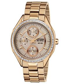 Citizen Watch, Women's Drive from Citizen Eco-Drive Rose Gold-Tone Stainless Steel Bracelet 35mm FD1063-57X - Women's Watches - Jewelry & Wa...