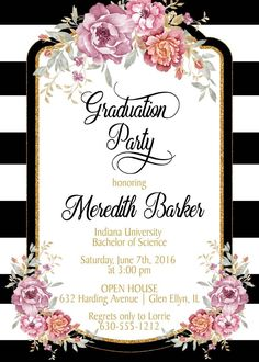 Rose Gold Graduation Invitations featuring trending rose gold glitter and foil accents. Order printed invitations or an easy DIY digital file. to personalize this invite for your graduation celebration. Graduation Invitations College, Graduation Party Planning, College Graduation Parties, Graduation Party Invitations, Grad Parties, Vintage Graduation Party, Graduation Quotes, Graduation Caps, Grad Cap