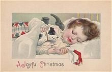 Post Card Sweetest Sleeping Child with His Christmas Toys