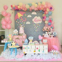 No photo description available. Unicorn Themed Birthday, Hello Kitty Birthday, Baby Birthday, Baby Shower Balloons, Baby Shower Themes, Baby Shower Centerpieces, Baby Shower Decorations, Rain Baby Showers, Birthday Party Decorations
