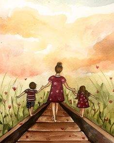 Mother and two children our path art print gift idea mother's day by claudiatremblay on Etsy Mother Daughter Art, Mother Art, Mothers Day Drawings, Tattoo Mutter, Illustration, Art Mural, Second Child, Oeuvre D'art, Mother Gifts